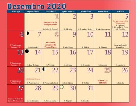 Calendário Antoniano Dezembro 2020