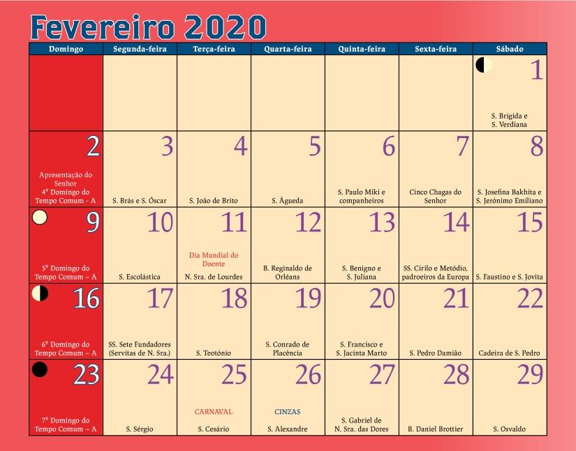 Calendario Antoniano Fevereiro 2020
