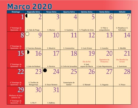 Calendario Antoniano Março 2020