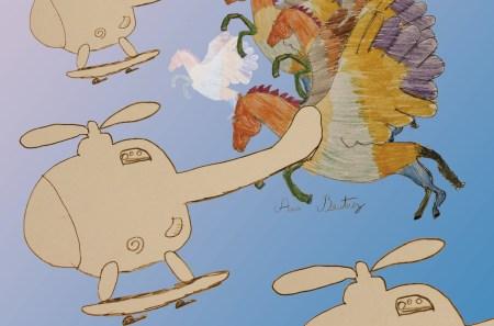 Cavalos coloridos com asas e helicópteros com pantufas, Ana Beatriz. Foto MSA 2020
