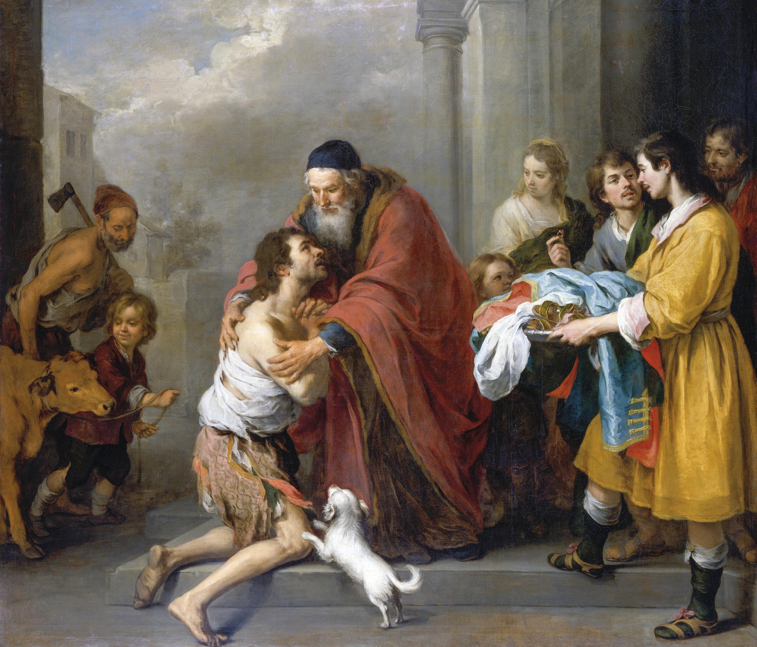 O regresso do filho pródigo - óleo sobre tela de Bartolomé Esteban Murillo (Espanha, 1617 - 1682), Wikimedia Commons.