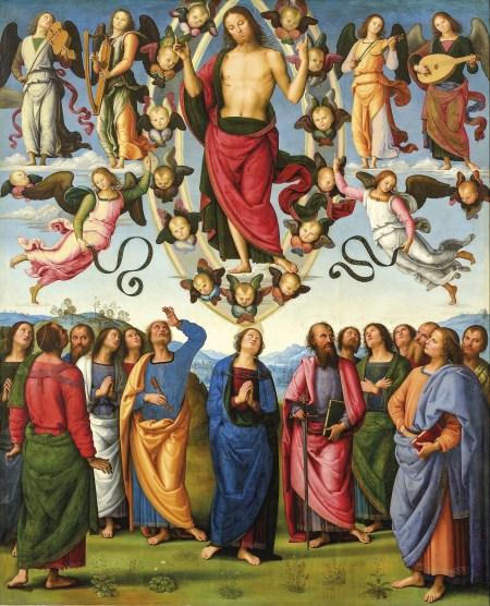 A Ascensão de Jesus. Pintura de Pietro Perugino (1448-1523), Museu das Belas Artes de Lyon. Foto in Vittoria Garibaldi; Perugino. Catalogo Completo. Octavo, Firenze 2000 | Wikimedia Commons.