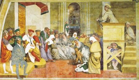 O milagre do recém nascido. Girolamo Tessari, chamado Do Santo, sec. XVI, Santuário da Nogueira, Camposampiero. Giorgio Deganello   Arquivo MSA.