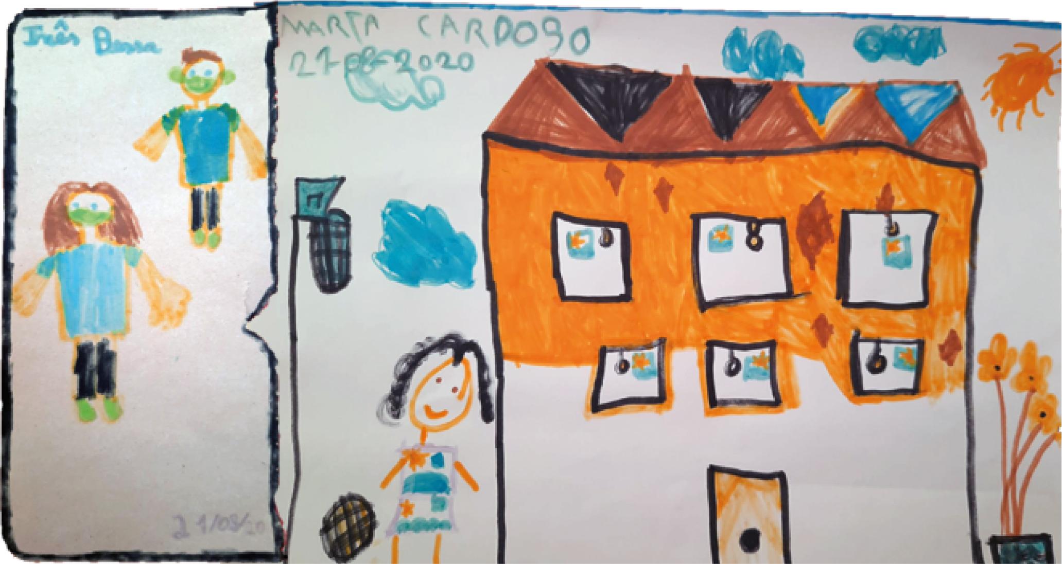 A Escola COVID, desenhos de Inês Bessa e Marta Cardoso