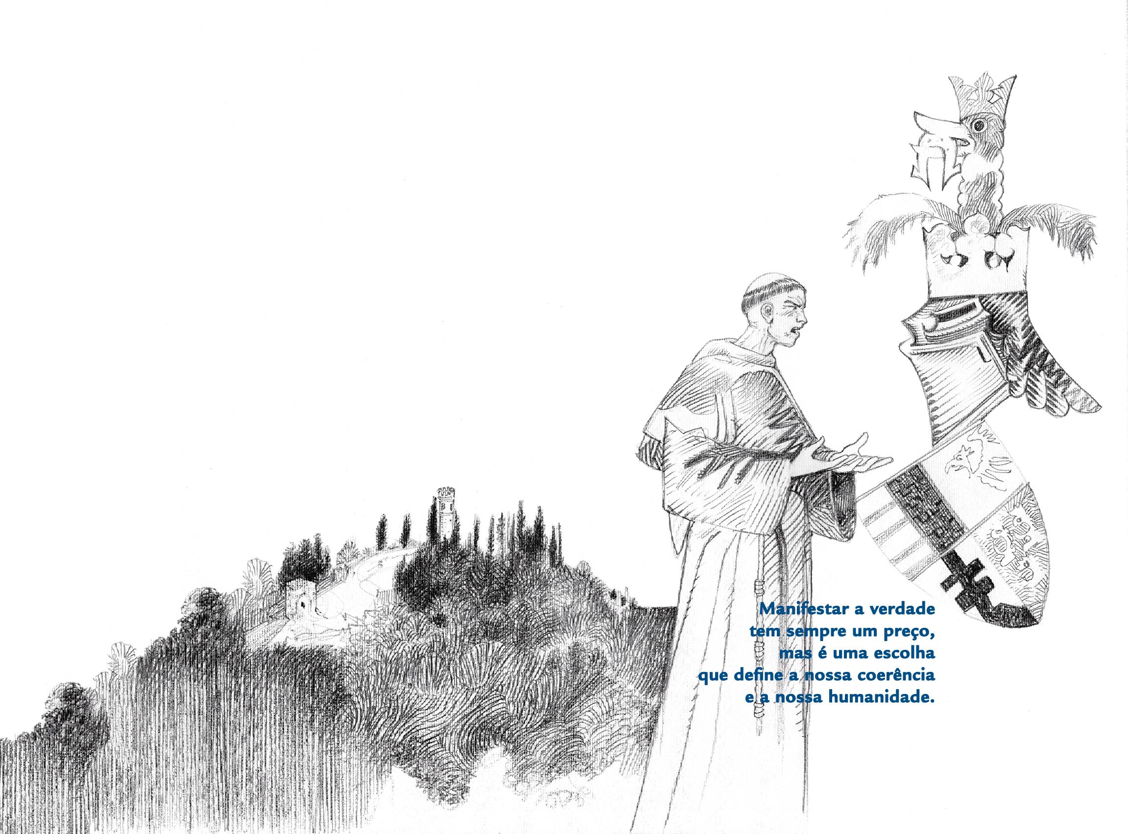"""A escuta profunda e atenta de Deus é a premissa para a indignação e só a indignação que brota dessa escuta é evangelicamente capaz de desmascarar o """"bezerro de ouro"""" de cada circunstância. Ilustração: Luca Salvagno."""
