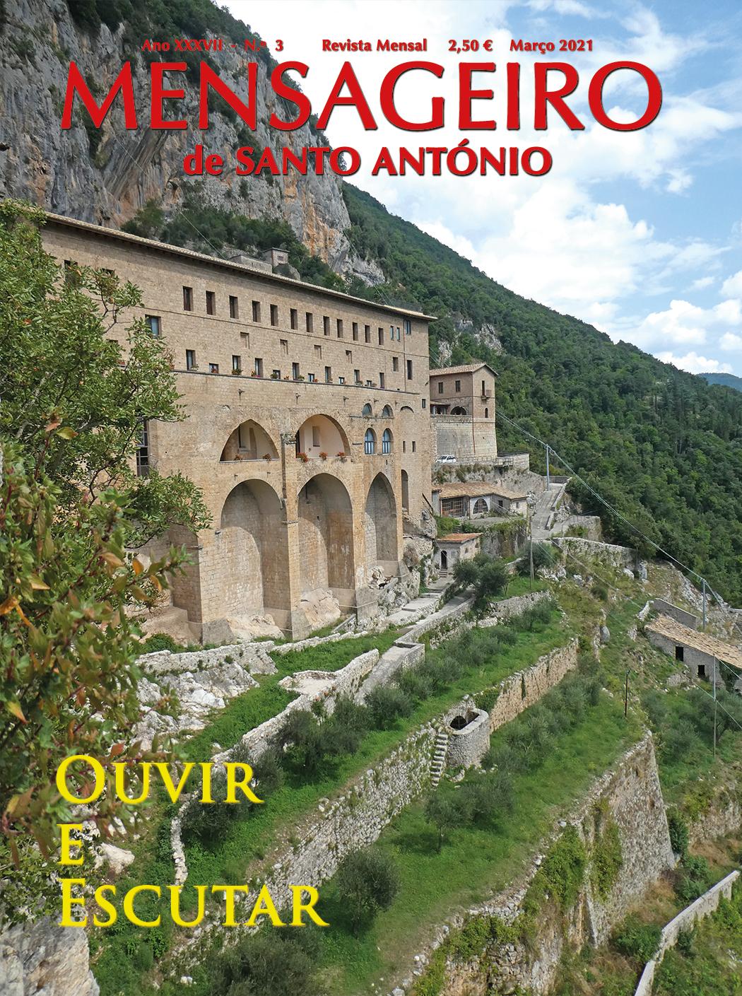 Capa março 2021: Ouvir e Escutar - mosteiro da Sagrada Caverna de São Bento, Subiaco. Foto MSA 2019