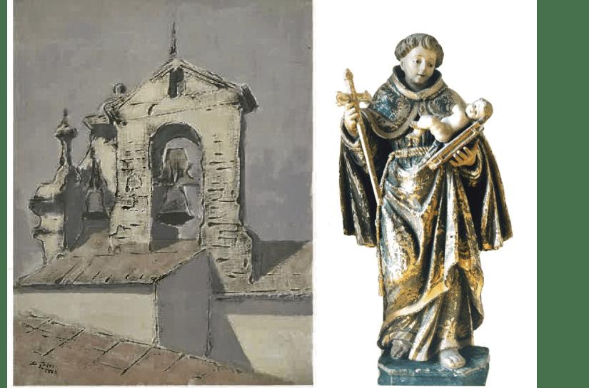 Fig 2 - Imagem da Torre Sineira do Convento de Stº António, de Aveiro - Óleo de Cândido Teles (reprodução) e Santo António de Lisboa - Sé de Aveiro – MA Inv. 103/B