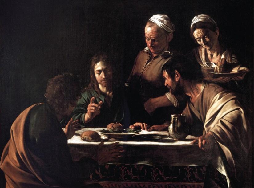 Os discípulos de Emaús, Caravaggio, 1606,  Pinacoteca de Brera, Milão, Itália, Wikimedia Commons