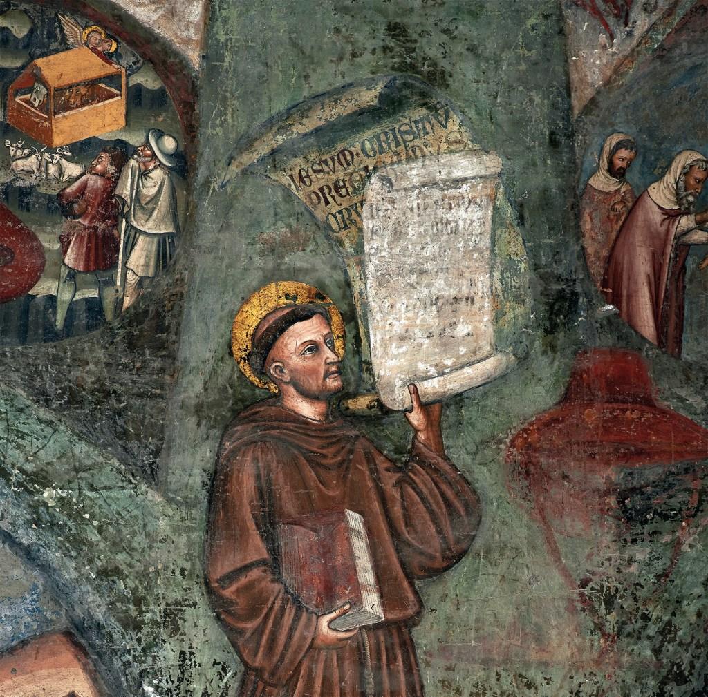 Santo António de Pádua, fresco de autor desconhecido do século XIV, Basílica de Santa Maria Miaor, Bérgamo, Itália. Foto de Mario Bonotto, 2016.