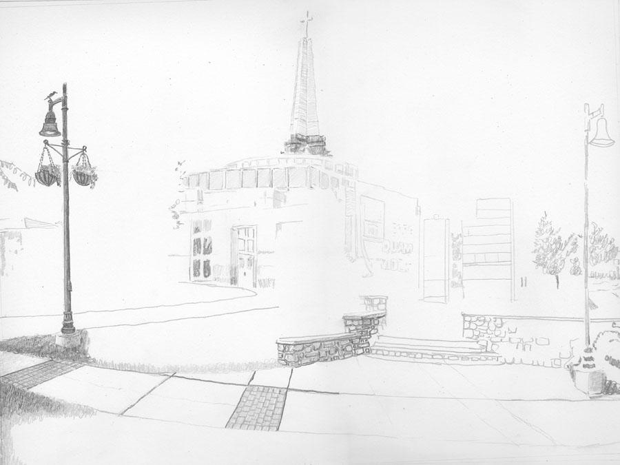 Episcopal Academy Pencil Drawing in Progress 01