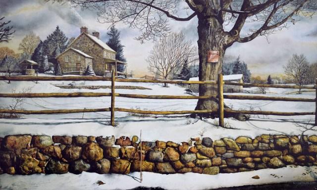 Open Edition Prints of Fieldstone and Fences watercolor painting by Santoleri