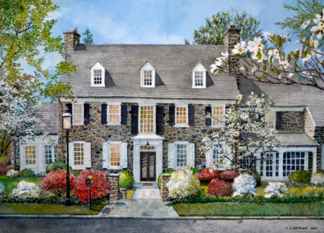 Commission artwork watercolor painting of the residence or Mr. and Mrs. W.