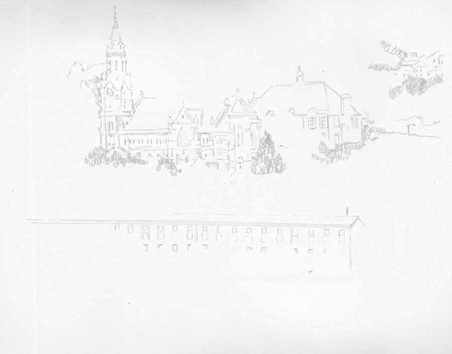 Manayunk Drawing in Progress 01 by Nick Santoleri