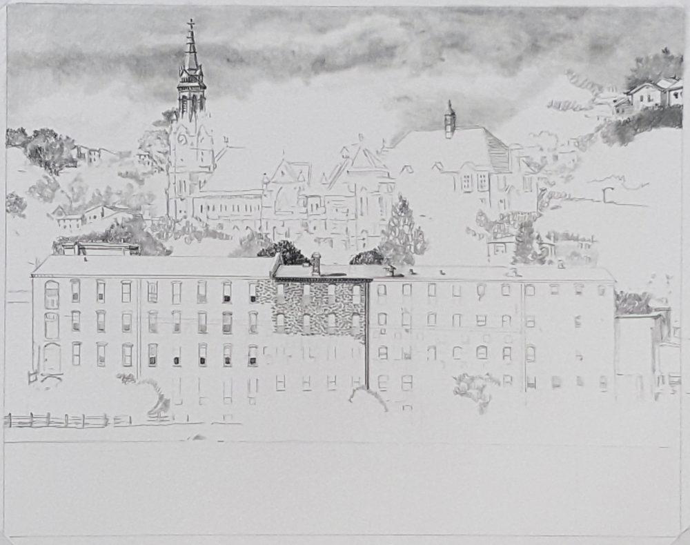 Manayunk Drawing in Progress 02 by Nick Santoleri