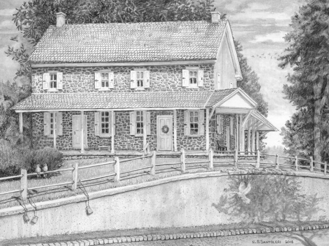 Newtown Square Quaker Meeting - Pencil Drawing by Santoleri