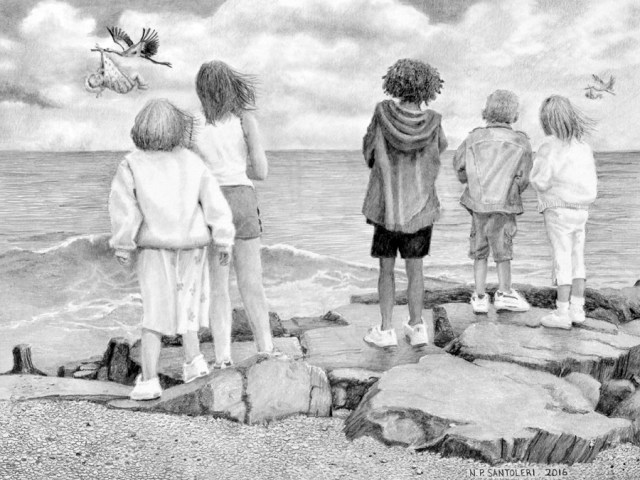 """Open Edition Prints of """"Special Delivery"""" Pencil Drawing by Nick Santoleri"""