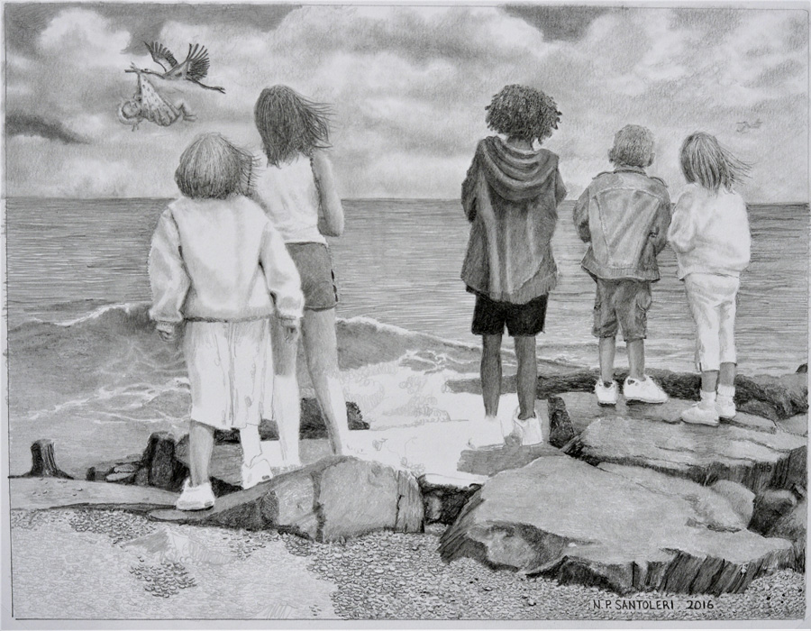 Special Delivery pencil drawing by Santoleri in progress 04