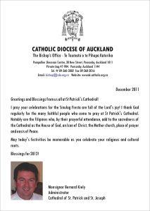 Sinulog 2012 Message from Monsignor Bernard Kiely
