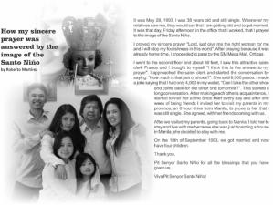 How my sincere prayer was answered by the image of the Santo Niño