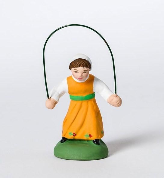 Fillette à la corde à sauter santons Campana