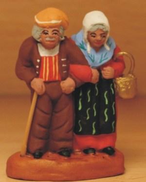 Couple de vieux santons Volpes