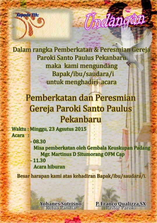 Undangan Pemberkatan Dan Peresmian Gereja Paroki Paroki Santo Paulus