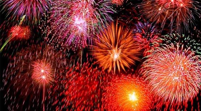 santorini aerial fireworks
