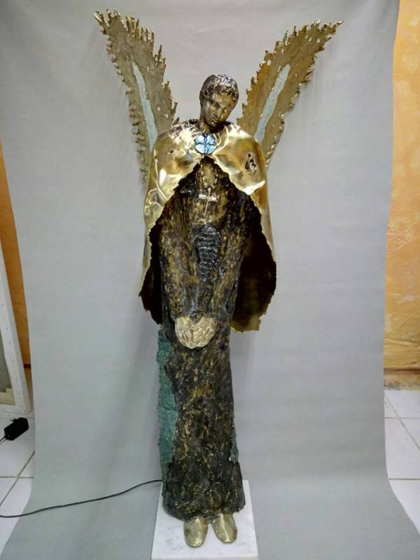 handcrafted bronze artwork angel