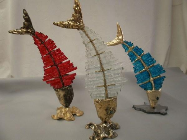 handcrafted bronze artwork fish sculpture handmade
