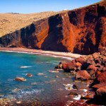 The Red beach in the most spectacular colorful beaches in the world