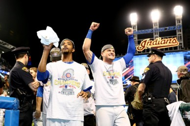 CLEVELAND, OH - NOVEMBER 02: Carl Edwards Jr. #6 of the Chicago Cubs and Albert Almora Jr. #5 celebrate after defeating the Cleveland Indians 8-7 in Game Seven of the 2016 World Series at Progressive Field on November 2, 2016 in Cleveland, Ohio. The Cubs win their first World Series in 108 years. (Photo by Elsa/Getty Images)