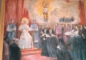 Pintura que representa a Madre Petra recibida en audiencia por S.S.Pío X, defendiendo el Santuario