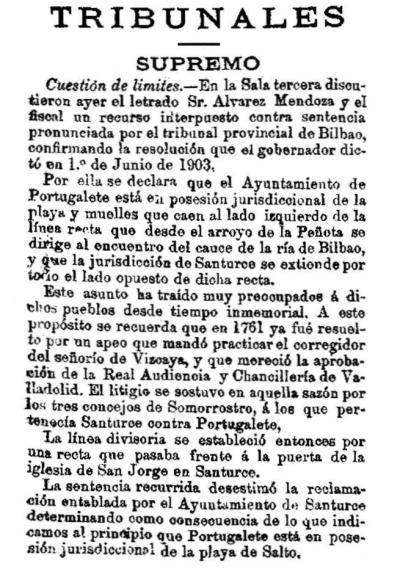 Sentencia de 1903 sobre límites entre Santurtzi y Portu