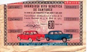 Billete rifa abril (parroquias) 1963