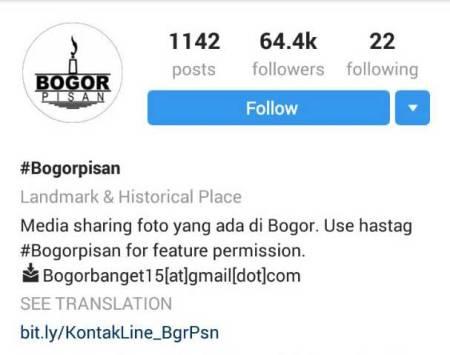 Akun Instagram Bogor Pisan