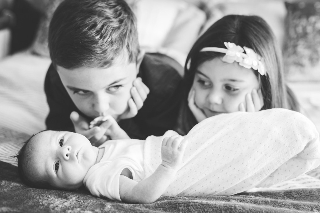 newborn siblings photography session, baby with brother and sister, photograph