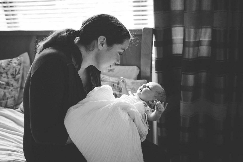 mum and baby black and white portrait
