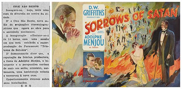 Nota de inauguração do cinema no Correio Paulistano e cartaz americano do filme (clique para ampliar)
