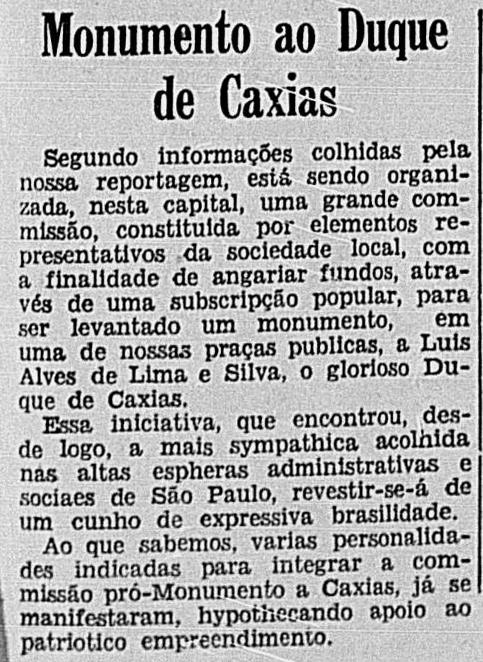 A primeira notícia, em 1939 (Correio Paulistano)
