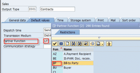 NACE Output Type Partner Function