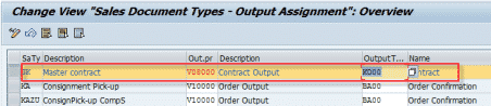 Nace Output Type Assign Output Procedure