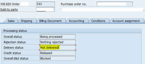 SAP Order Delivery Status Header