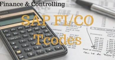 SAP FI Tcodes, SAP CO Tcodes