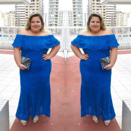 Look: vestido ombro a ombro tricô