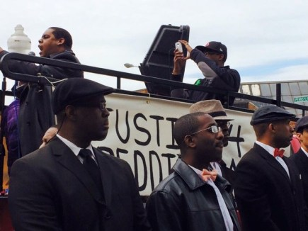 """Minister Carlos Muhammad and the Fruit of Islam before Baltimore Uprising for Freddie Gray"" (Photo: Donna Auston)"
