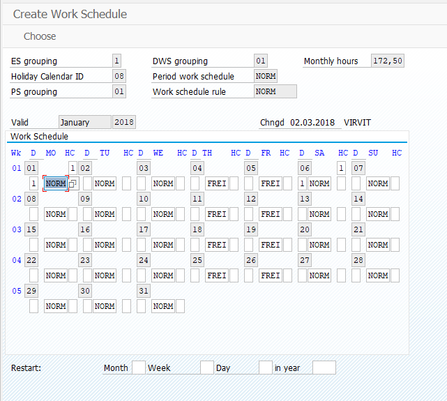 PT01 - Create work schedule