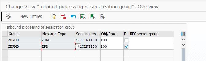 Настройка обработки входящей группы сериализации для настройки SAP ALE