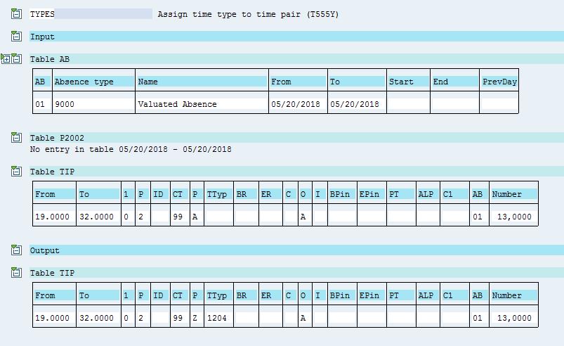 Журнал функции TYPES