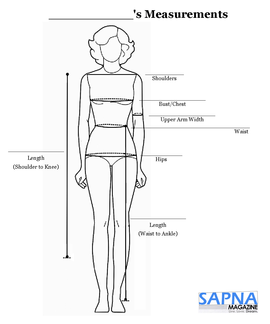 Easy Bridesmaid Measurements