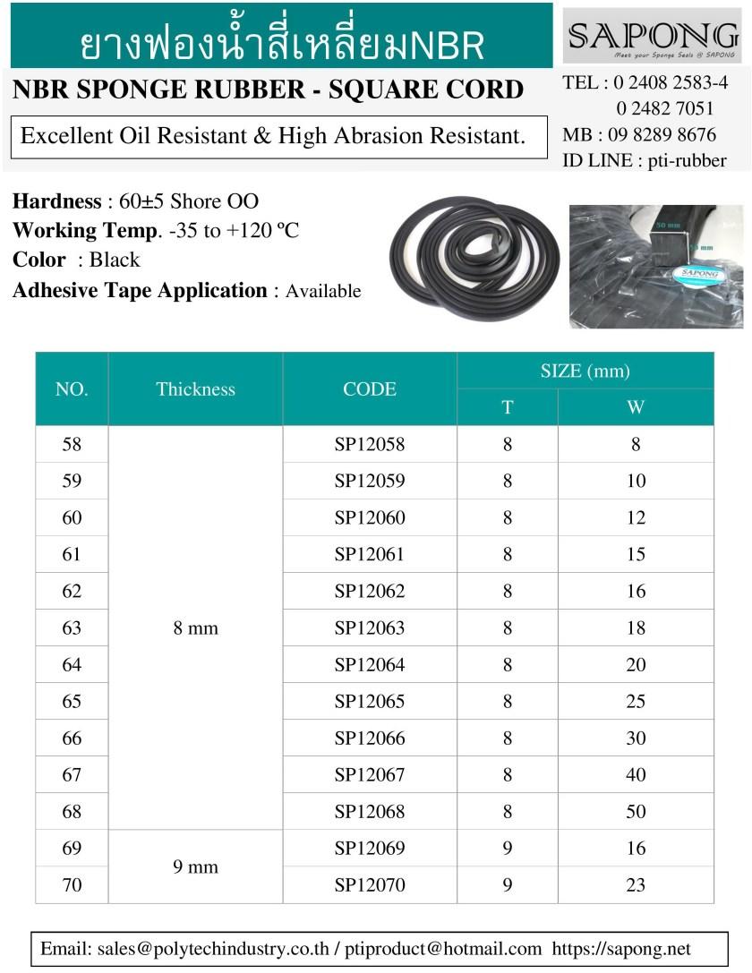 ยางฟองน้ำสี่เหลี่ยม NBR ความหนา 8 mm 9 mm